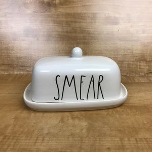 NEW! RAE DUNN SMEAR BUTTER DISH WITH LID  *HTF*